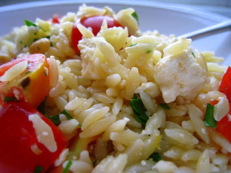 Orzo with Feta and Cherry Tomatoes | garlic shoots